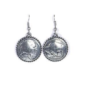 Boucle d'oreilles metal piece de five cent indien et bison