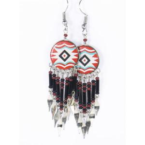 Boucles d'oreilles peintes à la main longues rouge et noire