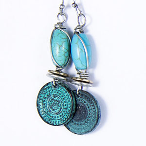 Boucle d'oreilles pendantes en turquoise