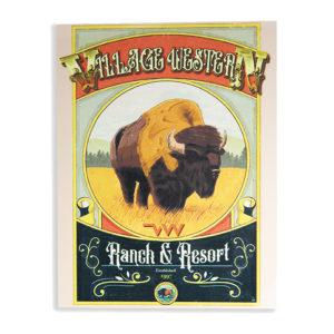 Plaque metal deco vintage Bison