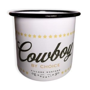 Tasse en acier emaillé Cowboy Village Western face