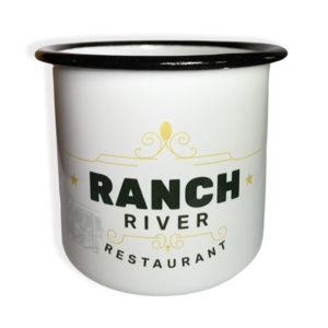 Tasse en acier emaillé Ranch River Village Western face
