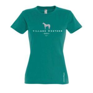 T-shirt femme emmeraude logo Westerlies avec paillettes argentées