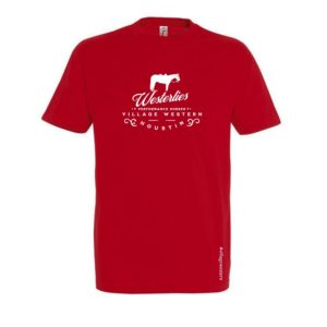 T-shirt rouge Westerlies avec un cheval